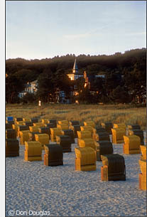 Strandk�rbe at sunset on the beach at Ostseebad Binz.